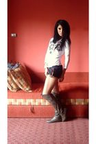 black diy cars shorts - green olive knee high boots - white Stradivarius blouse