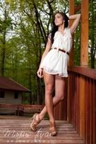 off white sheer Top Shop dress - bronze platforms La Perla heels - burnt orange