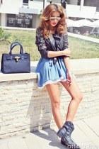 black leather stud No1 jacket - light blue denim No1 dress