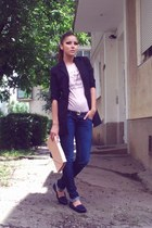 neutral clutch Prada bag - navy skinny Zara jeans - black plain random blazer