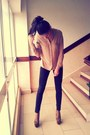 Brown-platform-bebo-heels-black-skinny-zara-jeans-tan-chiffon-bershka-shirt