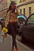 brown fedora vintage hat - bronze platform Zara boots - camel silk Bershka shirt