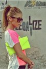 Chartreuse-neon-clutch-random-bag-hot-pink-leather-random-flats