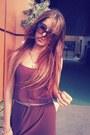 Tan-golden-cadenzza-sandals-dark-brown-hennes-dress