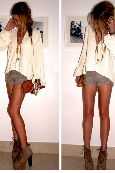 eggshell cotton random brand shirt - dark brown platform Jeffrey Campbell shoes