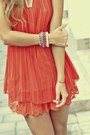 Coral-chiffon-raus-dress-turquoise-blue-bracelets-raus-accessories