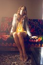 Light-yellow-plain-asos-dress-heather-gray-zara-blazer
