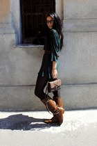 burnt orange knee high Tinted boots - brown punksteam Daniel Ray bag - dark brow