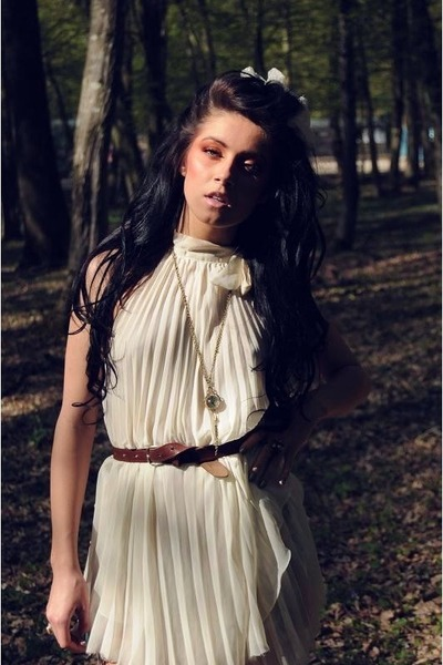 off white chiffon Top Shop dress - brown thrifted random belt - nude random acce