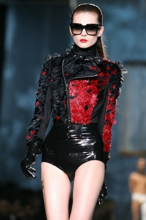 black feather Dsquared2 jacket - ruby red wet look Dsquared2 shorts