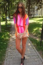 bubble gum colorful Zara dress - tan clutch Trendesence bag - black sandals Ange