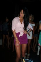 light pink nude Bershka shirt - off white bracelets H&M accessories - maroon hig