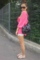 hot pink H&M top - black Newlook bag - neutral ripped tnt shorts