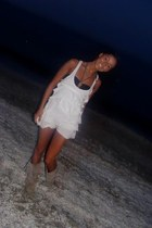 tan Cadenzza boots - white New Yorker dress - black bra Topshop swimwear