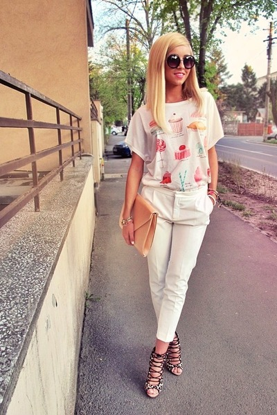 white white Zara pants - brown Zara shoes - bubble gum cupcake Diva Charms shirt