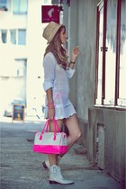 bubble gum silicone No1 bag - tan rocker No1 boots - ivory knitted No1 dress