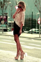 light pink sequin Zara top - tan studded Christian Louboutin heels