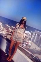 beige chiffon Topshop dress - tan meli melo hat - bronze platform La Perla heels