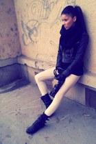 heather gray Goldox jacket - gray rocker new look boots