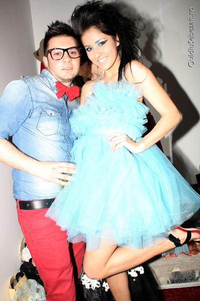 light blue Roxana Simon dress - black high heeled random sandals