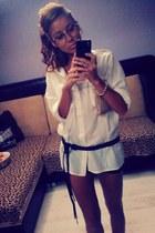 white boyfriend style H&M shirt - dark brown my moms thrifted belt