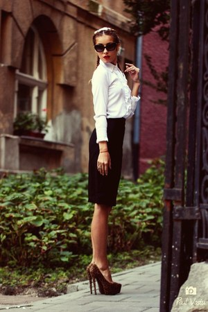 black pencil custom made skirt - ivory ruffle random shirt - brown CRYSTAL heels