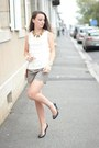 Zara-shirt-the-kooples-shorts-sequins-miu-miu-heels
