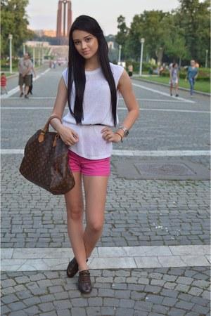 brown Louis Vuitton shoes - white Zara shirt - brown Louis Vuitton bag
