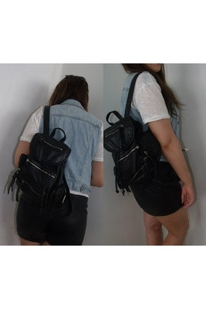 leather bag Topshop bag - leather shorts Topshop shorts - v- neck asos t-shirt