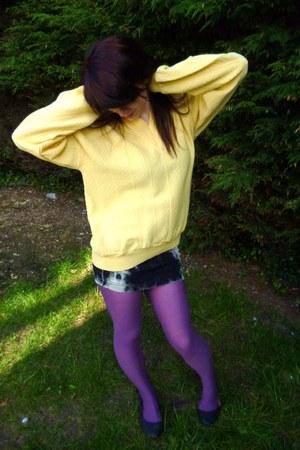 gray George flats - amethyst purple opaque Festival of fun tights