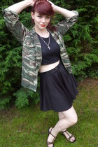 black lace crop new look top - olive green camoflague Ark sale shop jacket