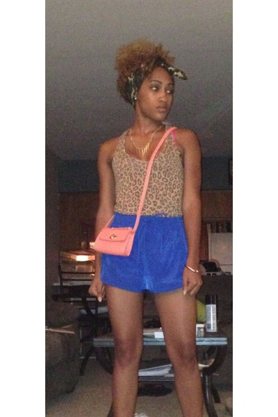 leopard top - camo Walmart scarf - Forever 21 bag - blue Forever 21 shorts