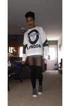 white Boy London shirt - silver Converse shoes - blue Forever 21 shorts