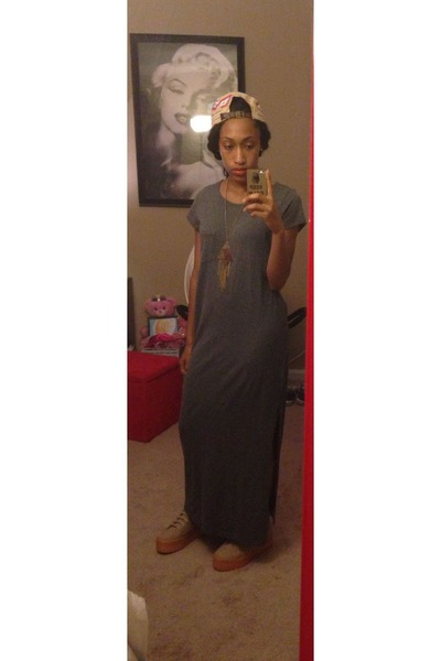 gray cotton Forever 21 dress - obey hat - neutral Jeffrey Campbell HOMG sneakers