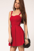 Women's Summer Backless Sexy Strap Slim Sleeveless Dress - red