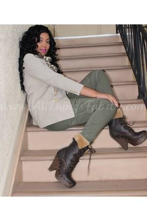 beige liz claiborne blazer - ivory sandals - olive green free people pants - dar