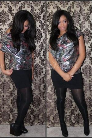 sequins asos top - black bodycon H&M skirt - black Aldo wedges