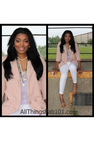 pink Vero Moda blazer - beige Aldo shoes - white Seven For All Mankind jeans