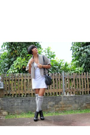 gray Target socks - black boots - white American Apparel dress - beige Old Navy
