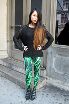 black oversized H&M sweater - lightning green Black Milk Clothing leggings