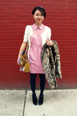 Forever21 dress - leopard fur BBDakota jacket - white ruffle Forever21 cardigan