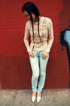 American Eagle jeans - floral knit Forever21 vest