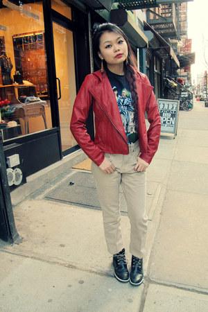 BB Dakota jacket - black lace up Timberland boots - nude pants Uniqlo jeans