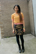 baroque carpet Miracle Eye skirt - orange wool H&M sweater