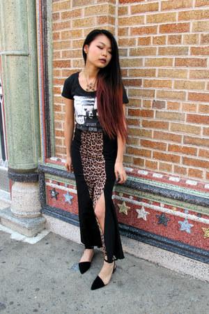 leopard maxi UO skirt - printed bear glmrklls shirt - pixiemarket flats