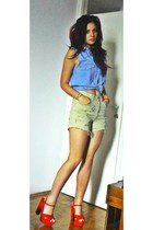 denim shirt Levis shirt - cream diy project AV Italy shorts - red mondo sandals