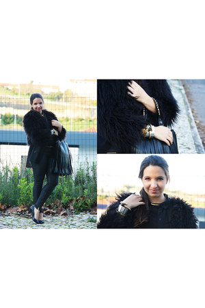 black Mango coat - black VJ Style bag - black Zara pants - black Zara heels