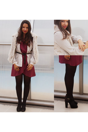 maroon Love dress - ivory Zara vest - ivory Primark blouse