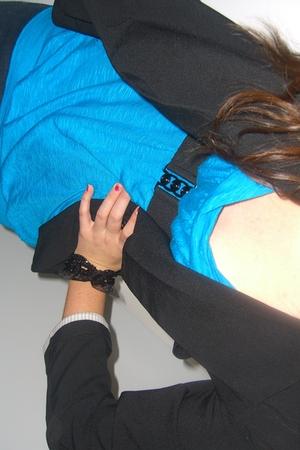 black winners blazer - blue Forever 21 shirt - black le chateau bracelet - black
