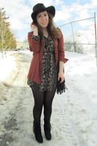 dark brown dress - burnt orange Sirens blouse